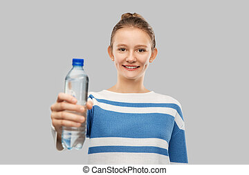 flicka, flaska, le, tonårig, vatten