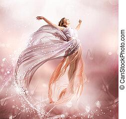flicka, flying., fairy., blåsning, magi, klänning, vacker