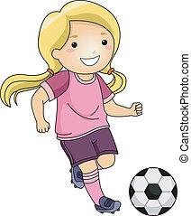 flicka, fotboll