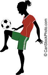 flicka, fotboll, leka
