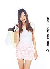 flicka, gående shoppa