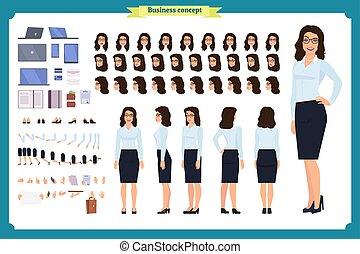 flicka, ge sig sken, livlig, affär, tecken, affärskvinna, olika, synhåll, gestures., sätta, synen, skapelse, sida, baksida, character., främre del, design.