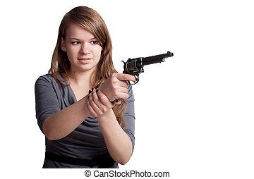 flicka, gevär, räcker