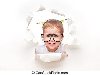 flicka, glasögon, svanar, genom, baby, hål, papper, barn, rolig, titta, vit