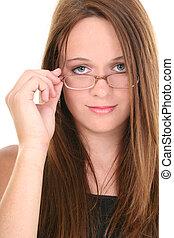 flicka, glasögon, tonåring