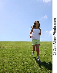 flicka, gräs, lycklig