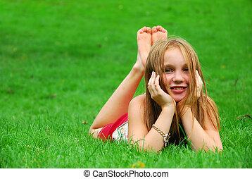 flicka, gräs, ung