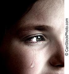 flicka, grät, med, tår