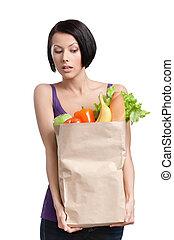 flicka, grönsaken, attraktiv, paket