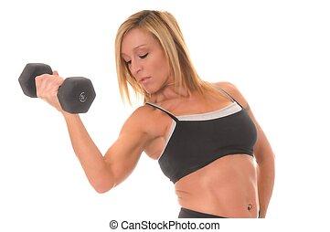 flicka, hälsa, fitness