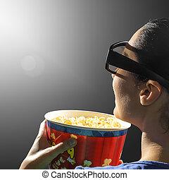 flicka, hålla ögonen på, 3, cinema.