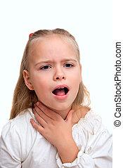flicka, har, a, öm hals