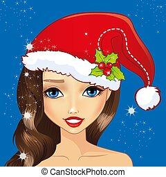 flicka, hatt, avatar, jul