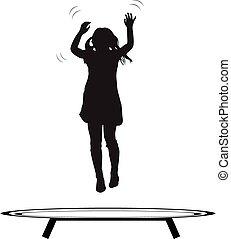 flicka, hoppning, trampolin