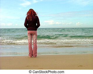 flicka, hos, strand
