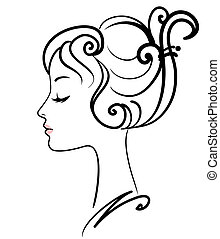 flicka, illustration, ansikte, vektor, vacker