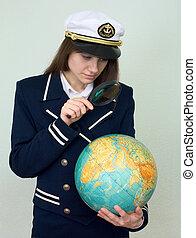 flicka, in, a, hav, likformig, med, jordklotet