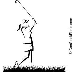 flicka, in, golfspel, in, grov