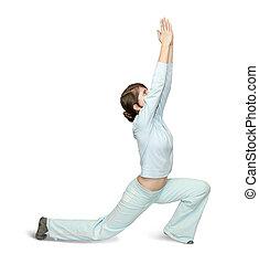 flicka, in, lätt, activewear, är, gör, fitness, träningen