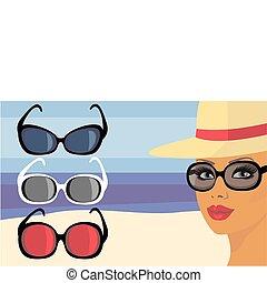 flicka, in, solglasögon