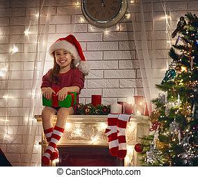 flicka, julgåva, holdingen