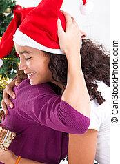 flicka, krama, mor, på, jul