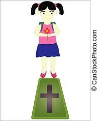 flicka, kyrkogård, trist