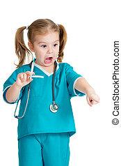 flicka, läkare, isolerat, injektionsspruta, vit, leka, unge