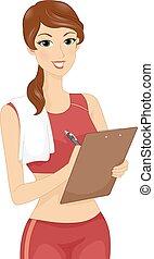 flicka, lämplighet tränare