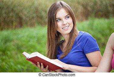 flicka läsa, a, bok