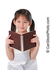 flicka läsa, asiat