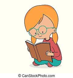 flicka läsa, bok