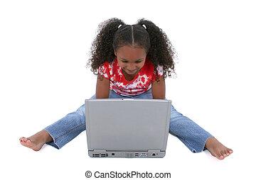 flicka, laptop, barn