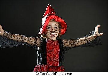 flicka, liten knatte, halloween, dräkt