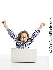 flicka, litet, laptop, arbete
