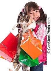 flicka, lycklig, holdingen, katt
