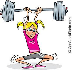 flicka, lyftande, tung, vikt