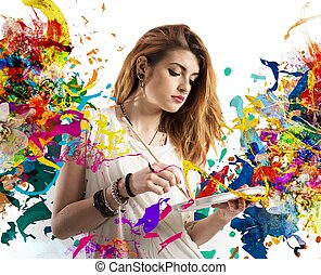 flicka, målare, skapande