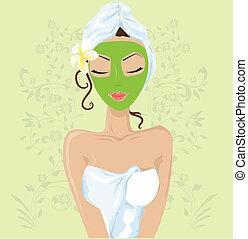 flicka, maskera, ansiktsbehandling