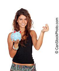 flicka, med, a, blå nasse strand, in, hand