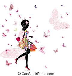 flicka, med, a, blomsterhandel, in