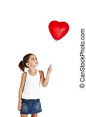 flicka, med, a, röd ballong