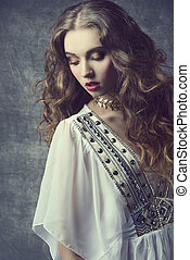 flicka, med, antikvitet, kläder