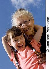 flicka, med, farmor