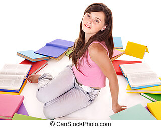 flicka, med, grupp, book.