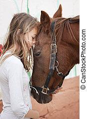 flicka, med, häst