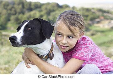 flicka, med, hund