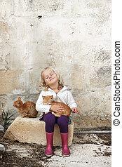 flicka, med, katter