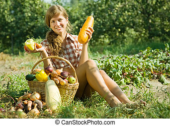 flicka, med, korg, av, grönsaken