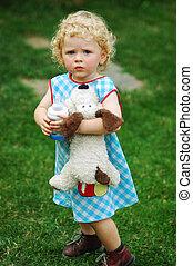 flicka, med, leksak